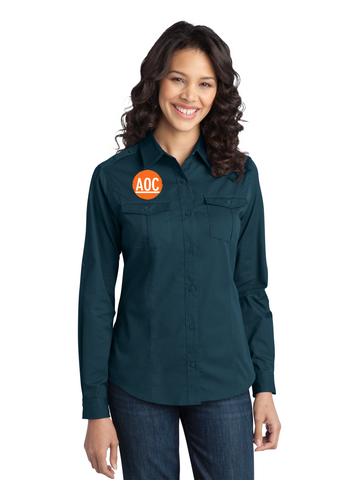 Serenity - Port Authority® Stain-Resistant Roll Sleeve Twill Shirt (L649)