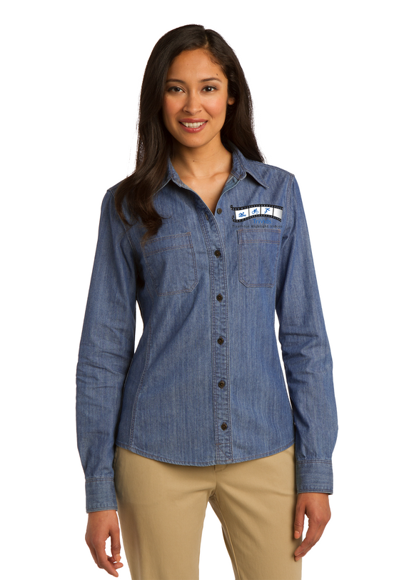 Cloud 9 - Port Authority® Ladies Patch Pockets Denim Embroidered Shirt (L652)