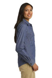 Port Authority Ladies Denim Button Up Light Indigo Custom Embroidered L652