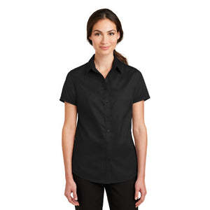 Port Authority Ladies Short Sleeve SuperPro Twill Shirt Sleeve Custom Embroidered L664 Black