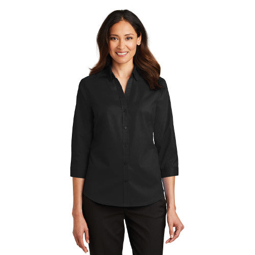 Port Authority Ladies Three Quarter Sleeve SuperPro Twill Shirt Sleeve Custom Embroidered L665 Black