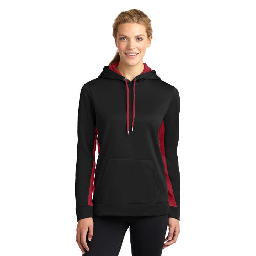 Sport Tek Ladies Sport Wick Fleece Colorblock Hooded Pullover Custom Embroidered LST235 Black Deep Red