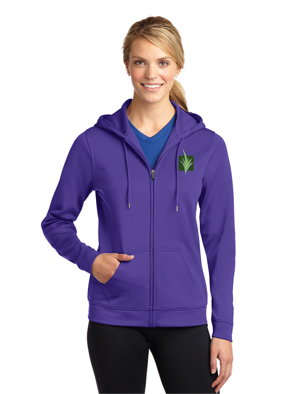 Sport Tek Ladies Full Zip Fleece Hooded Jacket Purple Custom Embroidered LST238