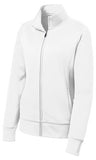 Sport Tek Ladies Full Fleece Jacket White Custom Embroidered LST241