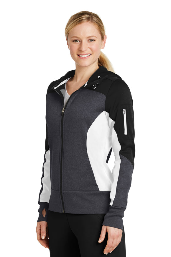 Sport Tek Fleece Colorblock Full Zip Jacket Black White Custom Embroidered LST245