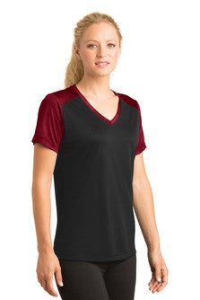 Sport Tek Colorblock V Neck shirt Deep RedCustom Embroidered LST372