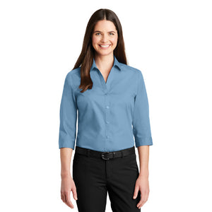 Port Authority Ladies Three Quarter Sleeve Carefree Poplin Shirt Custom Embroidered LW102 Carolina Blue
