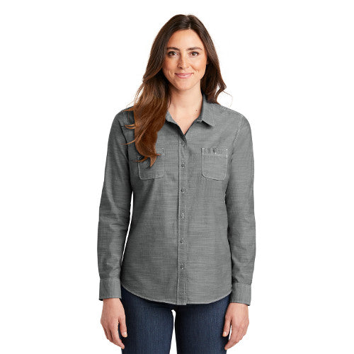 Port Authority Ladies Slub Chambray Button Up Long Sleeve Custom Embroidered LW380 Grey