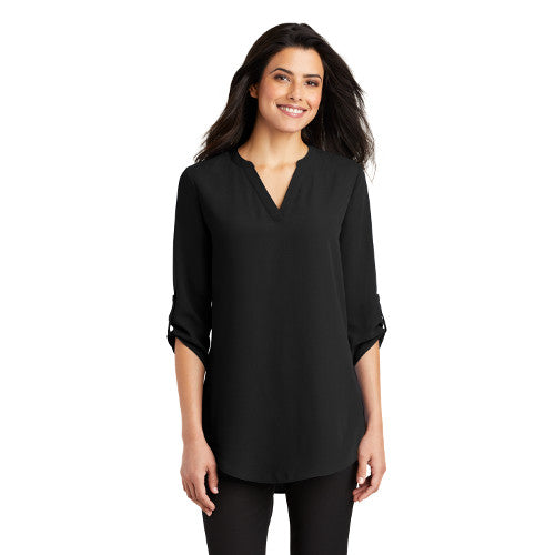 Port Authority Ladies Three Quarter Sleeve Tunic Blouse Custom Embroidered LW701 Black