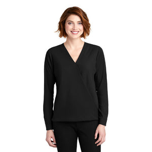 Port Authority Ladies Wrap Blouse Custom Embroidered LW702 Black