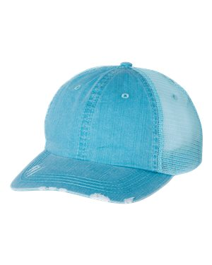 Mega Cap Herringbone Unstructured Trucker Cap Custom Embroidered 6990 Aqua Aqua