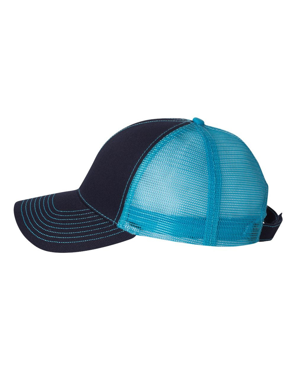 6185b92be99 ... Side View Custom Embroidered Light Blue and Black Mesh Hat Mega Cap  7641 ...