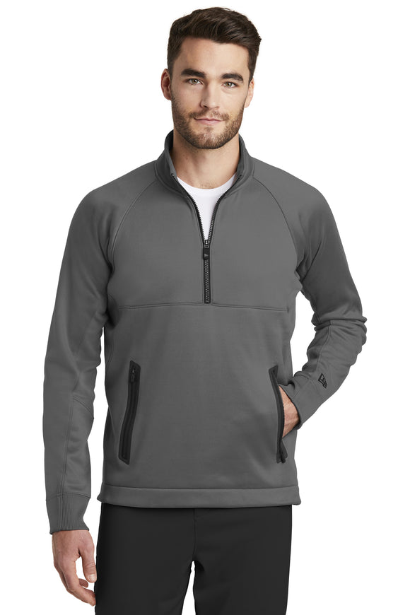 New Era quarter zip fleece pullover Graphite Custom Embroidered NEa523