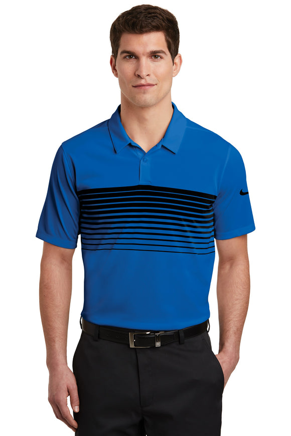 Nike  Dri Fit Chest Stripe polo Royal BlackCustom Embroidered NKAA1855