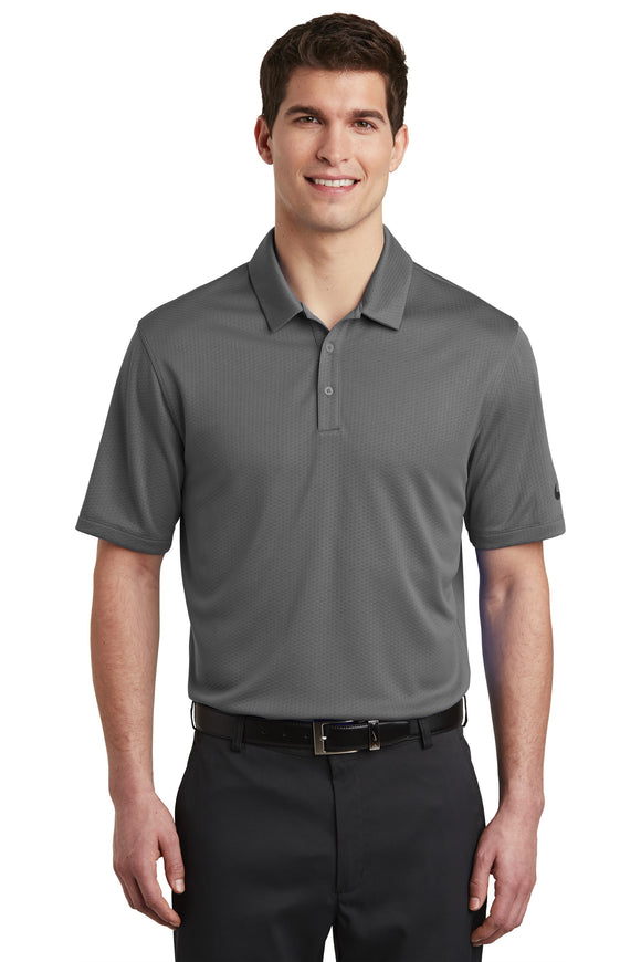 Nike Dri Fit Textured Polo Dark Grey Custom Embroidered NKAA6266