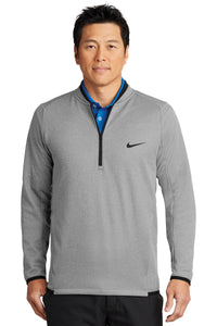 Nike Dri Fit Textured Half Zip Fleece Pull\over Grey Custom Embroidered NKAh6267