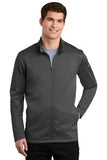 Nike Dri Fit Textured Full Zip Fleece Pullover Dark Grey Custom Embroidered NKAh6418