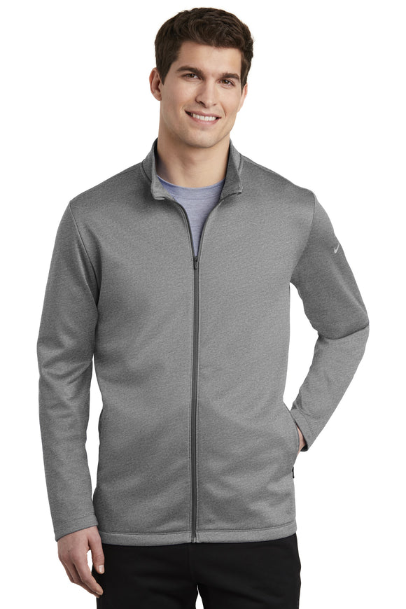 Nike Dri Fit Textured Full Zip Fleece Pullover Grey Custom Embroidered NKAh6418