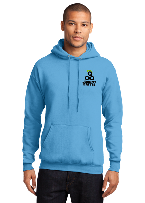 Port Company Pullover Hooded Sweatshirt Aquatic Blue Custom Embroidered PC78H
