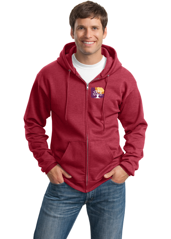 Port Company Full Zip Sweatshirt Custom Embroidered PC78ZH Red