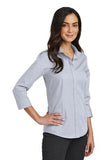 Red House Ladies Three Quarter Sleeve Nailhead Non Iron Shirt Custom Embroidered RH690 Ice Grey
