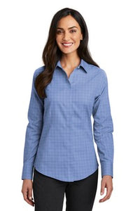 Red House Ladies Windowpane Plaid Non Iron Shirt Custom Embroidered RH71 Blue