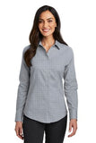 Red House Ladies Windowpane Plaid Non Iron Shirt Custom Embroidered RH71 Dove Grey