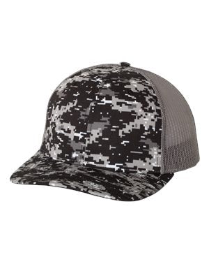 Richardson Patterned Snapback Trucker Hat Custom Embroidered 112P Black camo Charcoal