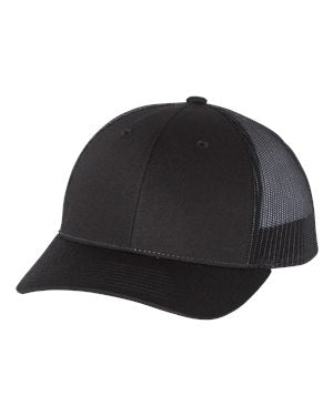 Richardson Patterned Low Profile Trucker Hat Custom Embroidered 115 Black