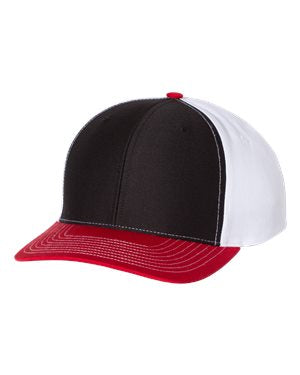 65f9638b0b5a0 ... Richardson Twill Back Trucker Hat Custom Embroidered 312 Black White  Red ...