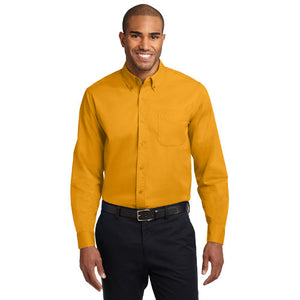 Port Authority Extended Size Long Sleeve Easy Care Shirt Button Up Custom Embroidered S608ES Athletic Gold