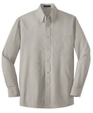 Port Authority Button Up Long Sleeve Shirt Grey Custom Embroidered S632