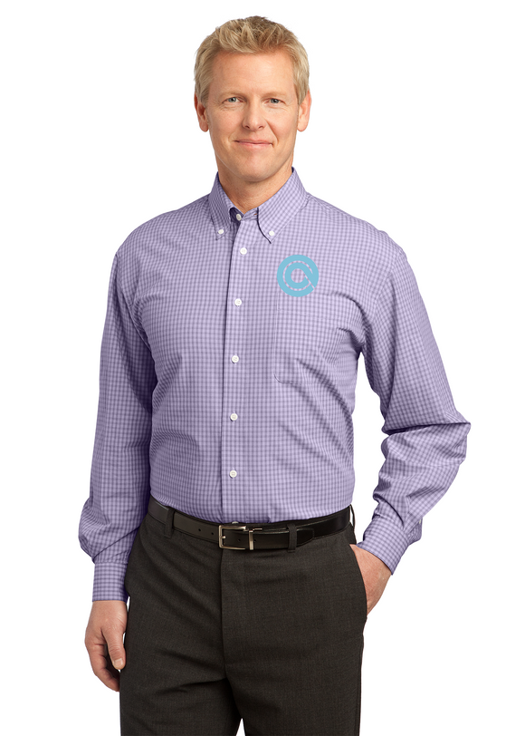 Port Authority Plaid Shirt Purple Custom Embroidered S639