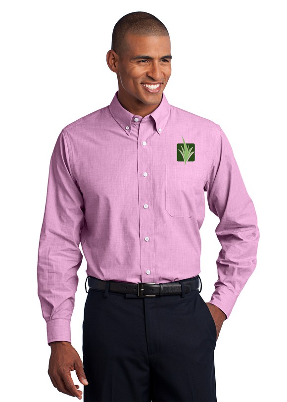 Port Authority Crosshatch Button Up Polo Pink Orchid Custom Embroidered S640