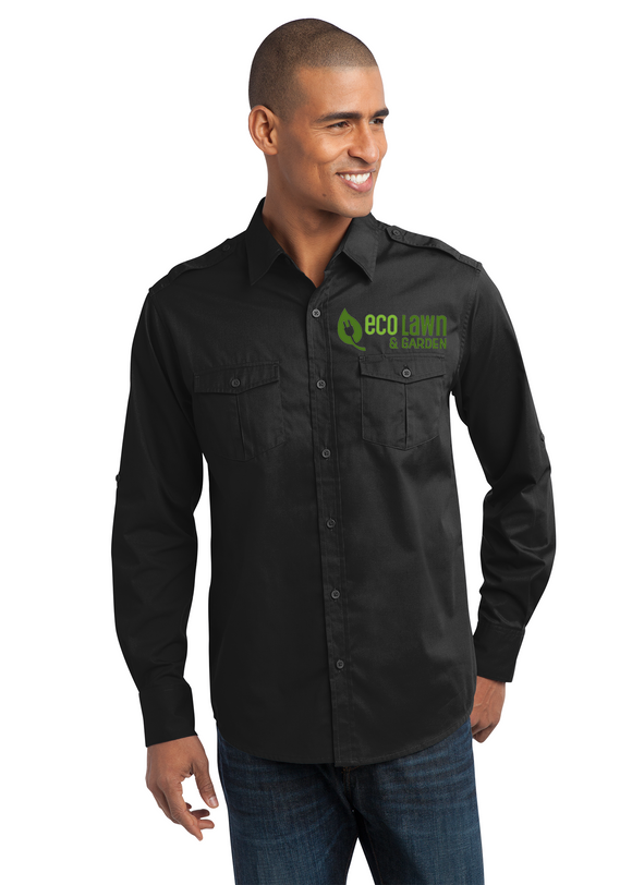 Port Authority Stain Resistant Button up Black Custom Embroidered S649