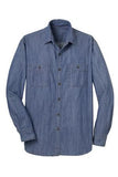 embroidered men's denim button down