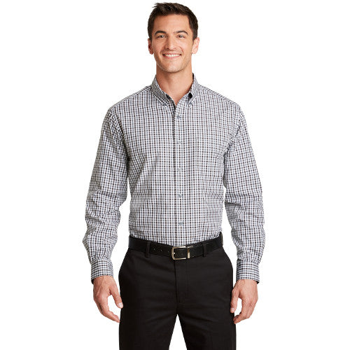 Port Authority Long Sleeve Gingham Button Up Easy Care Shirt Custom Embroidered S654 Black Charcoal