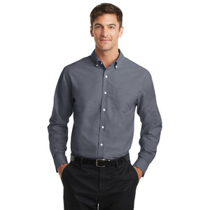Port Authority SuperPro Oxford Shirt Custom Embroidered S658 Black