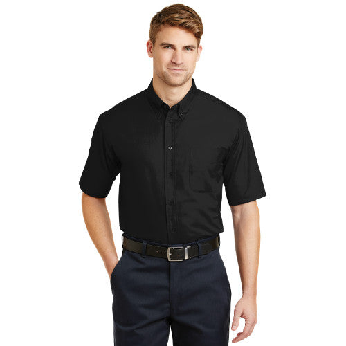 Cornerstone Short Sleeve Twill Button Polo Black Custom Embroidered BC3909