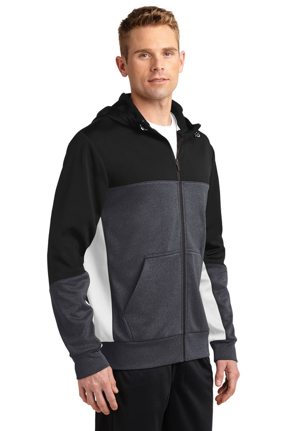 Sport Tek Fleece Full Zip Hooded Jacket Custom Embroidered ST245 Black Graphite