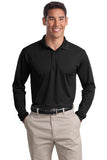 Sport Tek Long Sleeve Polo Custom Embroidered ST657 bLACK