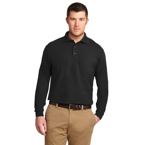 Port Authority Tall Silk Touch Polo Long Sleeve Custom Embroidered TLK500LS Black