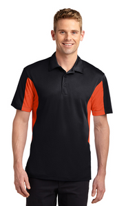 Raglan Pl. Sport-Tek Tall Side Blocked Micropique Sport Wick Polo Custom Embroidered TST655 Black Deep Orange