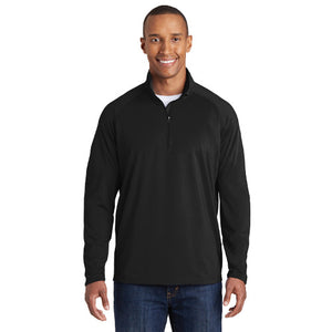 Tyne Pl Sport Tek Tall Sport Wick Stretch 1/2 zip pullover Custom Embroidered TST850 Black