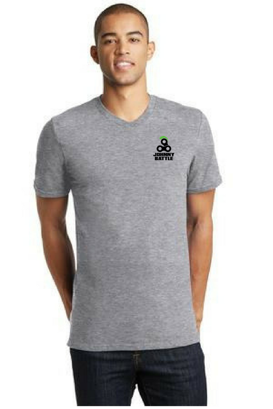 District Men's V Neck Heather Grey Custom Embroidered DT5500
