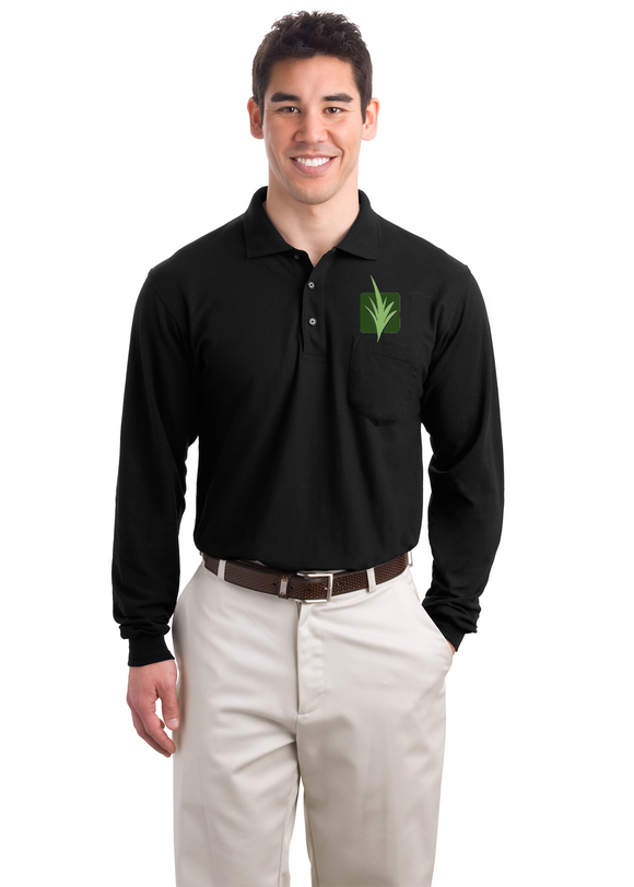 Port Authority Long Sleeve With Pocket Polo Black Custom Embroidered K500LSP