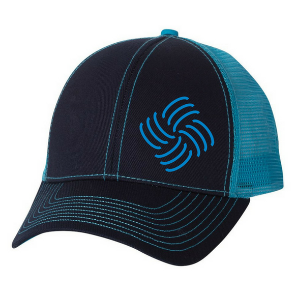 Custom Embroidered Light Blue and Black Mesh Hat Mega Cap 7641