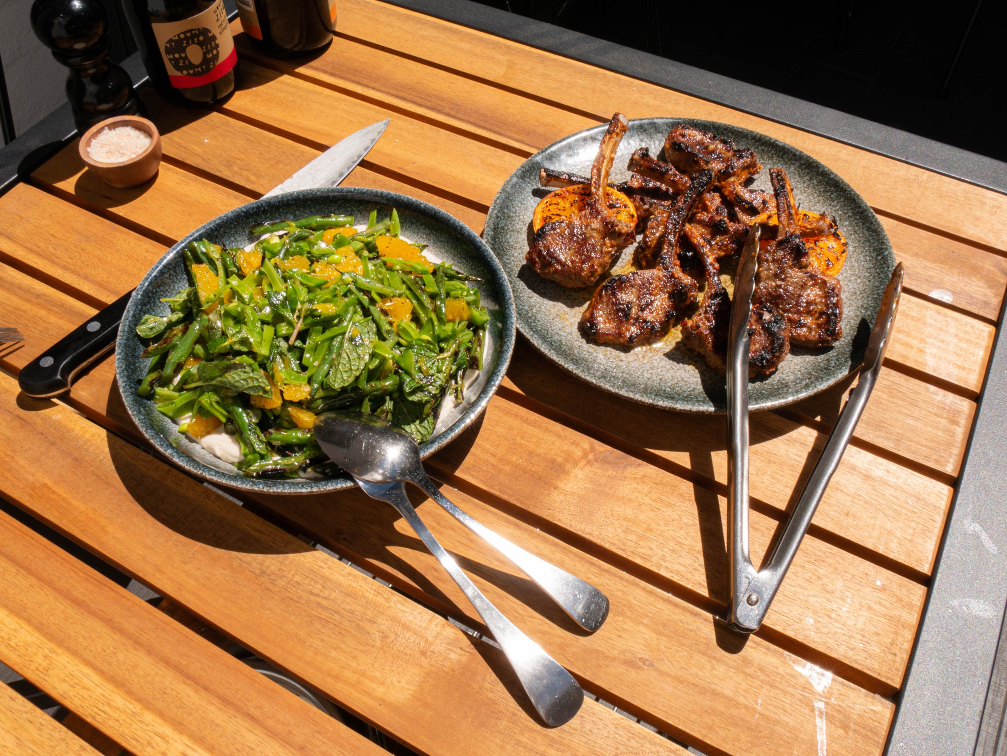 Spiced Lamb Chops w. Green Bean & Mint Salad