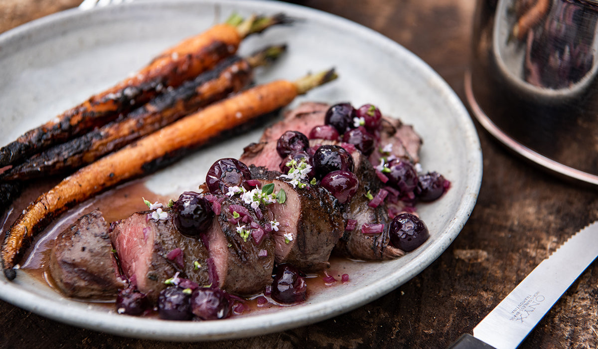 Venison with blueberry sauce