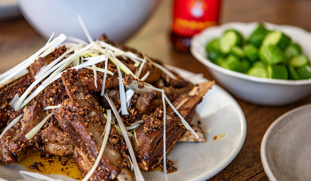 Sichuan lamb ribs with salted cucumber